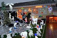 Vic and Sheila Norman's Christmas decorated house in Kilgetty, Pembrokeshire, in aid of the Paul Sartori Foundation, Wales, UK. 21 November 2017