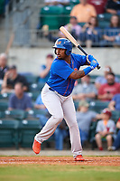 Midland RockHounds left fielder B.J. Boyd (9) at bat during a game against the Arkansas Travelers on May 25, 2017 at Dickey-Stephens Park in Little Rock, Arkansas.  Midland defeated Arkansas 8-1.  (Mike Janes/Four Seam Images)