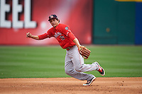 Louisville Bats third baseman Seth Mejias-Brean (5) makes a play on the ball during a game against the Buffalo Bisons on June 23, 2016 at Coca-Cola Field in Buffalo, New York.  Buffalo defeated Louisville 9-6.  (Mike Janes/Four Seam Images)