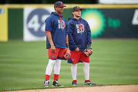 Salem Red Sox Jose Sermo (left) and Michael Chavis (right) during practice before the first game of a doubleheader against the Potomac Nationals on May 13, 2017 at G. Richard Pfitzner Stadium in Woodbridge, Virginia.  Potomac defeated Salem 6-0.  (Mike Janes/Four Seam Images)