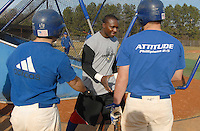 Spartanburg Methodist College grad Orlando Hudson, a Major League All-Star and Gold Glove winner, shakes hands with SMC players during practice with the SMC baseball team Jan. 19, 2010. Hudson was later signed by the Minnesota Twins on Feb. 4. Photo by: Tom Priddy/Four Seam Images