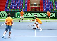 04-04-12, Netherlands, Amsterdam, Tennis, Daviscup, Netherlands-Rumania, training, Dubbel v.l.n.r.:Sijsling,Haase,Rojer en Schoorel