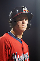 Mississippi Braves first baseman Kevin Ahrens (17) on deck during a game against the Pensacola Blue Wahoos on May 28, 2015 at Trustmark Park in Pearl, Mississippi.  Mississippi defeated Pensacola 4-2.  (Mike Janes/Four Seam Images)