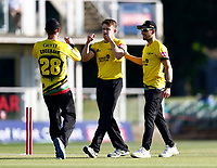 Josh Shaw (C) of Gloucestershire is congratulated after bowling Ollie Robertson during Kent Spitfires vs Gloucestershire, Vitality Blast T20 Cricket at The Spitfire Ground on 13th June 2021