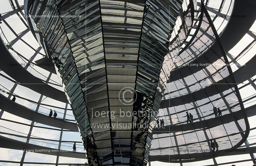 GERMANY, Berlin, Reichstag building today seat of german parliament Bundestag with glass dome with skywalk designed by architect Sir Norman Foster