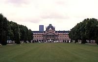 Paris: Ecole Militaire, North Facade, 1751-1777.Tour Montparnasse to left from Champ de Mars. Photo '87.