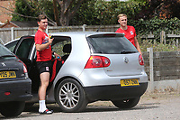 A couple of Ramsgate players arrive at the ground in a car wearing their match kit ahead of kick-off during Ramsgate vs Folkestone Invicta, Friendly Match Football at Southwood Stadium on 1st August 2020