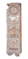 The Christian Eastern Roman Byzantine memorial funerary mosaic of an un-named man described as gentle and depicted with a bushel used to measure grain from the public grain warehouse. On its side is teh Chi Rho symbols used by early Christians to represent Christ.  Thabarca, Tabarks, 5th Century AD, Bardo Museum, Tunis, Tunisia
