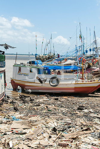"Belem, Para State, Brazil. Ver-o-Peso fish market harbour, with rubbish and vultures. ""Daughter of God"" (Filha de Deus) river boat."
