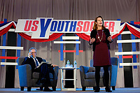 Philadelphia, PA - Saturday January 20, 2018: Kathy Carter during the U.S. Soccer Federation Presidential Election Candidates Forum hosted by US Youth Soccer at the Philadelphia Marriott Downtown Grand Ballroom.