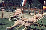 Europe, DEU, Germany, In the sixties, Historical image, People, Woman, Campbed, Historic image from the sixties., Tourism Touristic, Tourist, Travel, Traveller, Journey, Voyage, Holiday, Holidays, Tourist country, Hystory, Historic, Historical, Historical image, Historical photography, Contemporary, Historic image, Historic photography....Europa, DEU, Deutschland, 60er Jahre, Historische Aufnahme, Frau im Liegestuhl, Reisen und Urlaub in den 60er Jahren. Historische Fotografie die in den 60er Jahren entstand und den Zeitgeist der damaligen Zeit symbolisiert., Tourismus, Touristik, Touristisch, Urlaub, Reisen, Reisen, Ferien, Urlaubsreise, Freizeit, Historisch, Geschichte, Geschichtliches, Historische Aufnahme, Historische Fotografie....[For each utilisation of my images my General Terms and Conditions are mandatory. Usage only against use message and proof. Download of my General Terms and Conditions under http://www.image-box.com or ask for sending. A clearance before usage is necessary. Material is subject to royalties. Each utilisation of my images is subject to a fee in accordance to the present valid MFM-List. Contact: Uwe Schmid-Photography, Duisburg, Germany, Tel. (+49).2065.677997,..schmid.uwe@onlinehome.de, www.image-box.com]