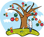 Scientist watering an atomic structure tree