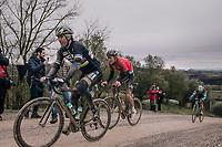 Peter Sagan (SVK/Bora-Hansgrohe) followed closely by (eventual winner) Tiesj Benoot (BEL/Lotto-Soudal)<br /> <br /> 12th Strade Bianche 2018<br /> Siena > Siena: 184km (ITALY)