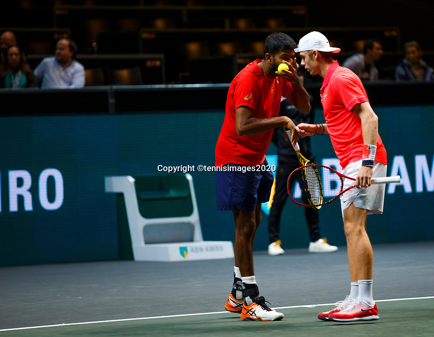 Rotterdam, The Netherlands, 11 Februari 2020, ABNAMRO World Tennis Tournament, Ahoy, <br /> Rohan Bopanna (IND) and Denis Shapovalov (CAN).<br /> Photo: www.tennisimages.com