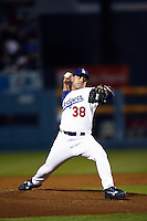 Rudy Seanez of the Los Angeles Dodgers during a 2007 MLB season game at Dodger Stadium in Los Angeles, California. (Larry Goren/Four Seam Images)