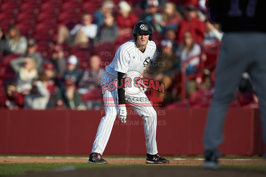 Braylen Wimmer (3) of the South Carolina Gamecocks takes his lead off of first base against the Holy Cross Crusaders at Founders Park on February 15, 2020 in Columbia, South Carolina. The Gamecocks defeated the Crusaders 9-4.  (Brian Westerholt/Four Seam Images)