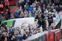 Exactly 1 year before, the Jaarmarktcross was the last race Sven Nys (BEL/Crelan-AAdrinks) managed to win before no longer being able to be as dominant as before in his career. Here he is actually leading the race again in the 4th lap being closely followed by Tom Meeusen (BEL/Telenet-Fidea).<br /> <br /> Jaarmarktcross Niel 2015  Elite Men & U23 race