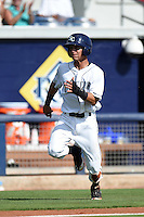 Charlotte Stone Crabs shortstop Andrew Velazquez (1) running the bases during a game against the Daytona Tortugas on April 14, 2015 at Charlotte Sports Park in Port Charlotte, Florida.  Charlotte defeated Daytona 2-0.  (Mike Janes/Four Seam Images)