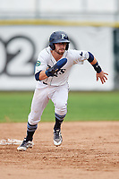 Princeton Rays second baseman Jake Palomaki (1) runs to third base during the second game of a doubleheader against the Greeneville Reds on July 25, 2018 at Hunnicutt Field in Princeton, West Virginia.  Greeneville defeated Princeton 8-7.  (Mike Janes/Four Seam Images)