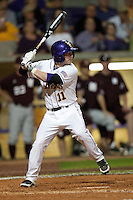 LSU Tigers third baseman Tyler Hanover #11 at the plate against the Mississippi State Bulldogs during the NCAA baseball game on March 16, 2012 at Alex Box Stadium in Baton Rouge, Louisiana. LSU defeated Mississippi State 3-2 in 10 innings. (Andrew Woolley / Four Seam Images).