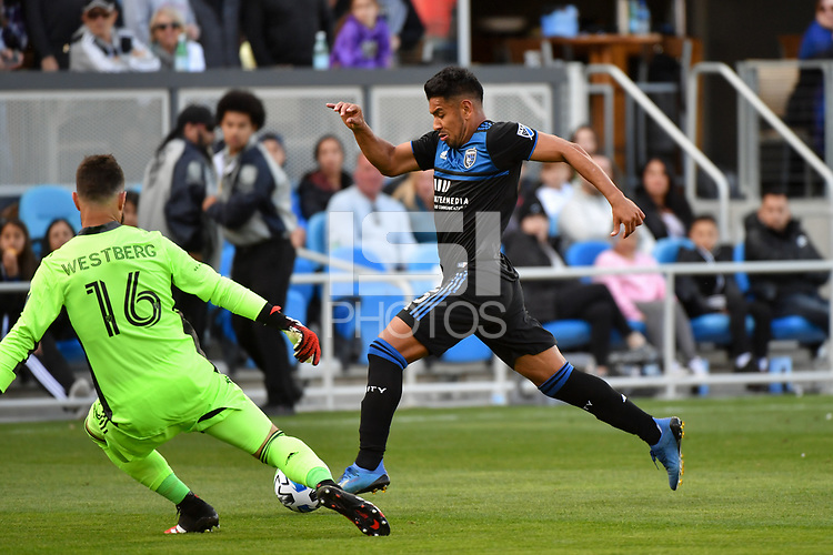 SAN JOSE, CA - FEBRUARY 29: Toronto FC goalkeeper Quentin Westberg #16 defends Andy Rios #25 of the San Jose Earthquakes during a game between Toronto FC and San Jose Earthquakes at Earthquakes Stadium on February 29, 2020 in San Jose, California.