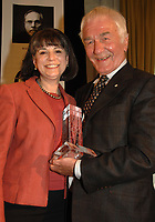The winner of the 2008 Charles Taylor Prize for Literary Non-Fiction, Richard Gwyn, is congratulated by Noreen Taylor  at today's award ceremony in Toronto at the King Edward Hotel. Richard won the $25,000 prize for his book The Man Who Made Us; The Life and Times of John A Macdonald. (CNW Group/Charles Taylor Prize for Literary Non-Fiction )