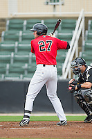 Trey Michalczewski (27) of the Kannapolis Intimidators at bat against the West Virginia Power at CMC-Northeast Stadium on April 30, 2014 in Kannapolis, North Carolina.  The Intimidators defeated the Power 2-1 in game one of a double-header.  (Brian Westerholt/Four Seam Images)