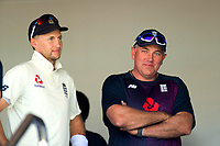 England captain Joe Root and England coach Chris Silverwood during day one of the international cricket 1st test match between NZ Black Caps and England at Bay Oval in Mount Maunganui, New Zealand on Thursday, 21 November 2019. Photo: Dave Lintott / lintottphoto.co.nz