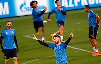 Real Madrid's Sergio Ramos gestures during a practice session ahead of the Champions League round of 16 first leg football match against Roma, at Rome's Olympic stadium, 16 February 2016.<br /> UPDATE IMAGES PRESS/Riccardo De Luca