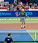 Bob and Mike Bryan do their signature victory chest bump at the Freedoms vs. Explorers WTT match in Villanova, PA on July 16, 2012