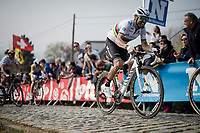 Alejandro Valverde (ESP/Movistar) in the final ascent up the Paterberg<br /> <br /> 103rd Ronde van Vlaanderen 2019<br /> One day race from Antwerp to Oudenaarde (BEL/270km)<br /> <br /> ©kramon