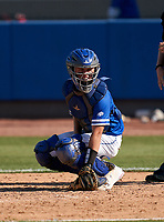 Canterbury Cougars catcher John Jobin (23) during a game against the IMG Academy Ascenders on April 21, 2021 at IMG Academy in Bradenton, Florida.  (Mike Janes/Four Seam Images)