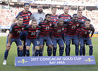Santa Clara, CA - Wednesday July 26, 2017: USMNT starting eleven during the 2017 Gold Cup Final Championship match between the men's national teams of the United States (USA) and Jamaica (JAM) at Levi's Stadium.