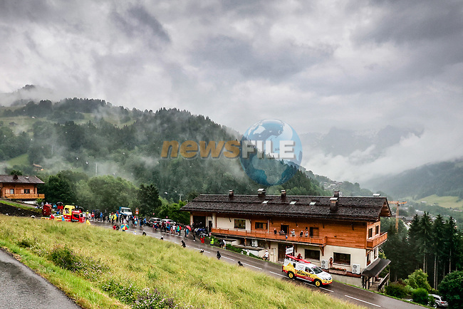 The publicity caravan before Stage 8 of the 2021 Tour de France, running 150.8km from Oyonnax to Le Grand-Bornand, France. 3rd July 2021.  <br /> Picture: A.S.O./Aurelien Vialatte   Cyclefile<br /> <br /> All photos usage must carry mandatory copyright credit (© Cyclefile   A.S.O./Aurelien Vialatte)