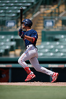 GCL Red Sox Matthew Lugo (46) bats during a Gulf Coast League game against the GCL Orioles on July 29, 2019 at Ed Smith Stadium in Sarasota, Florida.  GCL Red Sox defeated the GCL Pirates 9-1.  (Mike Janes/Four Seam Images)