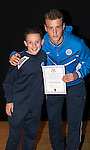 St Johnstone FC Academy Awards Night...06.04.15  Perth Concert Hall<br /> Ally Gilchrist presents a certificate to Thomas Penker<br /> Picture by Graeme Hart.<br /> Copyright Perthshire Picture Agency<br /> Tel: 01738 623350  Mobile: 07990 594431