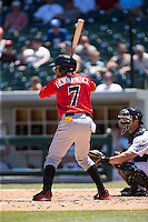 Gorkys Hernandez (7) of the Indianapolis Indians at bat against the Charlotte Knights at BB&T BallPark on June 21, 2015 in Charlotte, North Carolina.  The Knights defeated the Indians 13-1.  (Brian Westerholt/Four Seam Images)