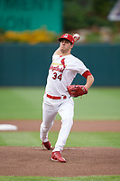 Springfield Cardinals starting pitcher Dakota Hudson (34) delivers a warmup pitch during a game against the Corpus Christi Hooks on May 31, 2017 at Hammons Field in Springfield, Missouri.  Springfield defeated Corpus Christi 5-4.  (Mike Janes/Four Seam Images)