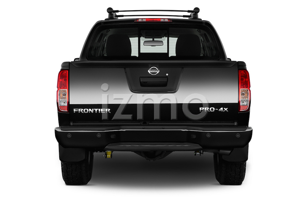 Straight rear view of 2016 Nissan Frontier PRO-4X-Crew-Cab 4 Door Pickup Rear View  stock images