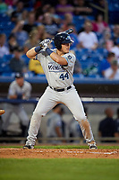 West Michigan Whitecaps first baseman Dylan Burdeaux (44) at bat during the second game of a doubleheader against the Lake County Captains on August 6, 2017 at Classic Park in Eastlake, Ohio.  West Michigan defeated Lake County 9-0.  (Mike Janes/Four Seam Images)