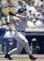 Geoff Jenkins of the Milwaukee Brewers bats during a 2002 MLB season game against the Los Angeles Dodgers at Dodger Stadium, in Los Angeles, California. (Larry Goren/Four Seam Images)