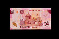 Mexico, North America.  Fifty  Pesos Banknote, showing the Aqueduct of Morelia, Michoacan state, on the back side.
