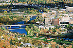 The Missoula, Montana downtown area with the Clark Fork River