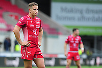 Kieran Hardy of Scarlets during the Guinness Pro14 Round 02 match between the Scarlets and Zebre Rugby at the Parc Y Scarlets Stadium in Llanelli, Wales, UK. Saturday 12 October 2019