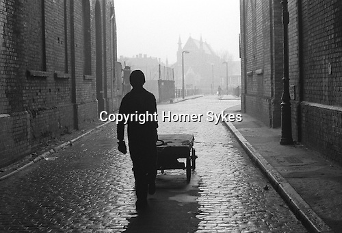 St Annes Church in distance, area now redeveloped. Whitechapel area east London 1974.