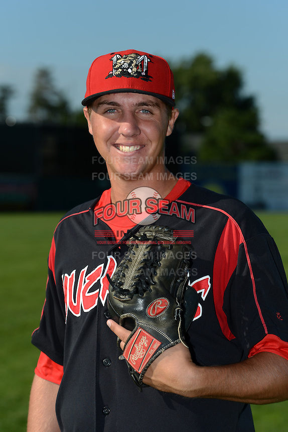 Batavia Muckdogs pitcher Cody Crabaugh (39) poses for a photo before a game against the Williamsport Crosscutters on September 4, 2013 at Dwyer Stadium in Batavia, New York.  Williamsport defeated Batavia 6-3 in both teams season finale.  (Mike Janes/Four Seam Images)