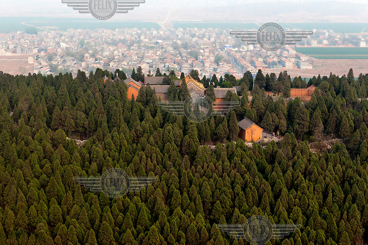 A forest of pine trees surround a farm on a hillside overlooking Linzhou. /Felix Features