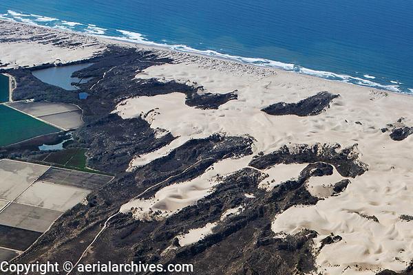 aerial photograph of dunes, Oso Flaco Lake, Arroyo Grande, San Luis Obispo County, California