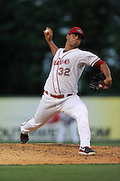 Pitcher Luis Diaz (32) of the Greenville Drive in a game against the Lexington Legends on Monday, August 16, 2013, at Fluor Field at the West End in Greenville, South Carolina. Greenville won, 2-1. (Tom Priddy/Four Seam Images)