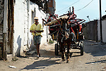 A Roma man walks with his horse-drawn cart filled with material to be recycle in Suto Orizari, the Macedonian municipality that is Europe's largest Roma settlement. Many Roma here earn a living from recycling metal, plastic, and other materials.